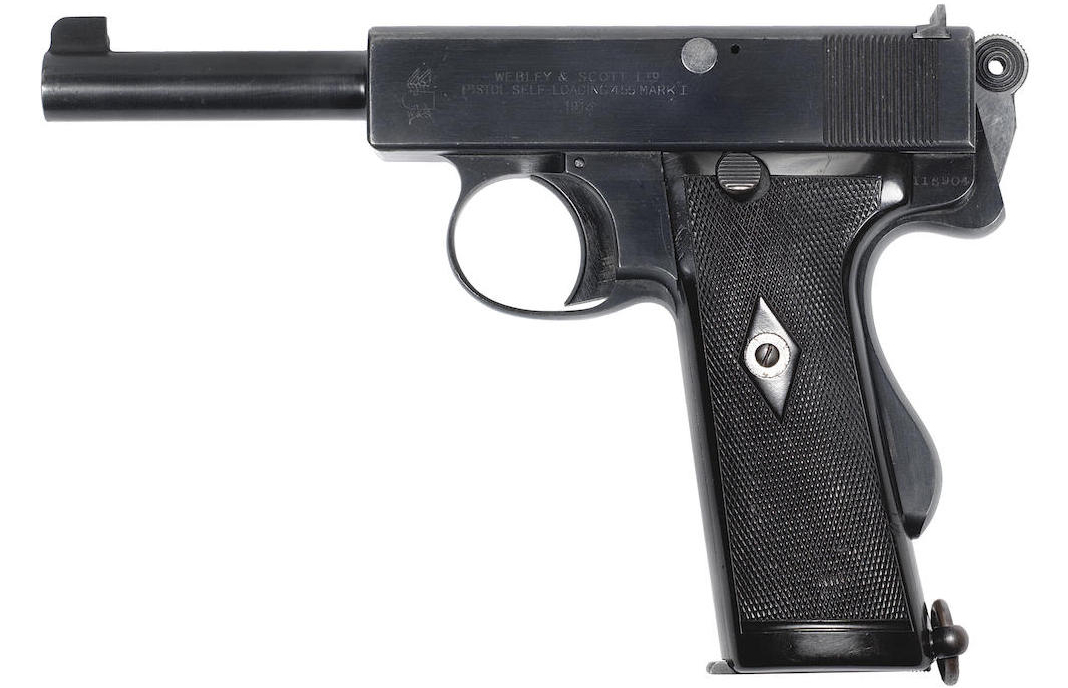 This Model 1914 Webley automatic pistol is commercial quality and was sold to Holland & Holland, 98 New Bond Street, London, in September 1914. (Picture courtesy Bonhams).