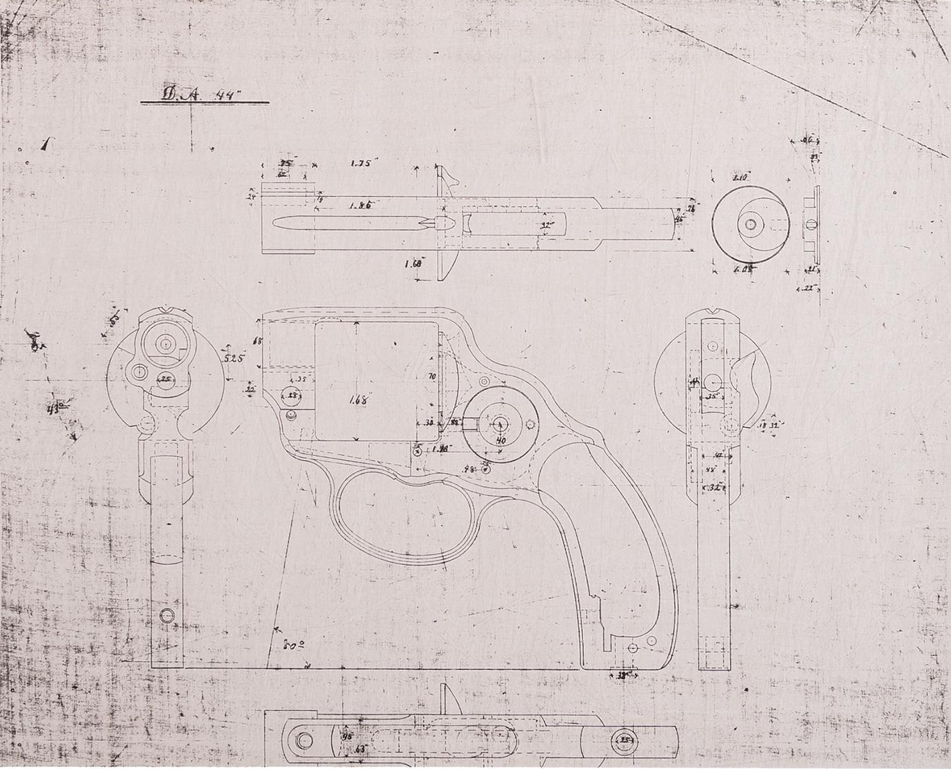 Original Winchester factory drawing of the prototype revolver from 1883.