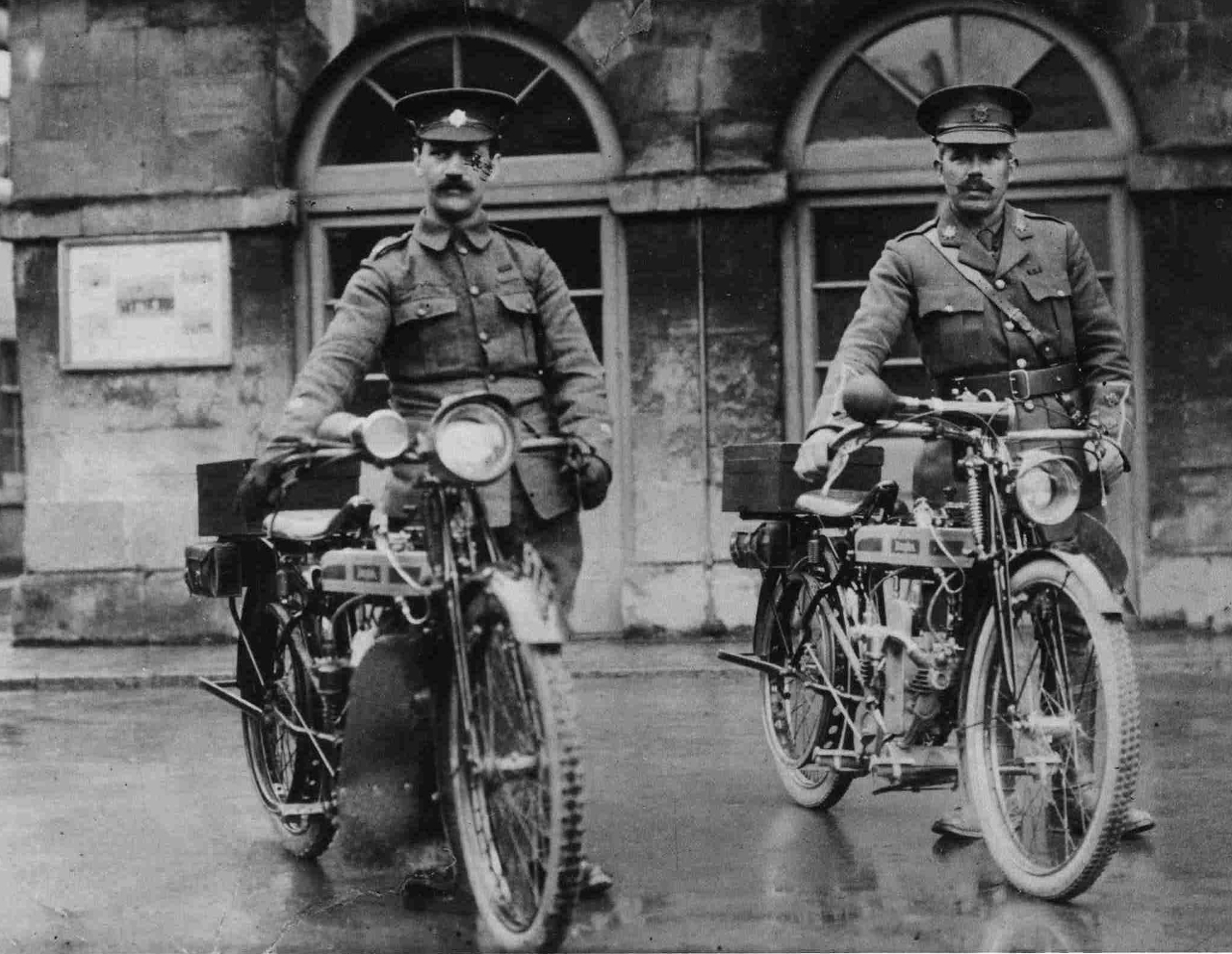 "By the outbreak of the First World War Douglas were building motorcycles the equal of any in the world. They made over 70,000 motorcycles for the military. (Picture courtesy ""War Machines"" at columnm.com)."