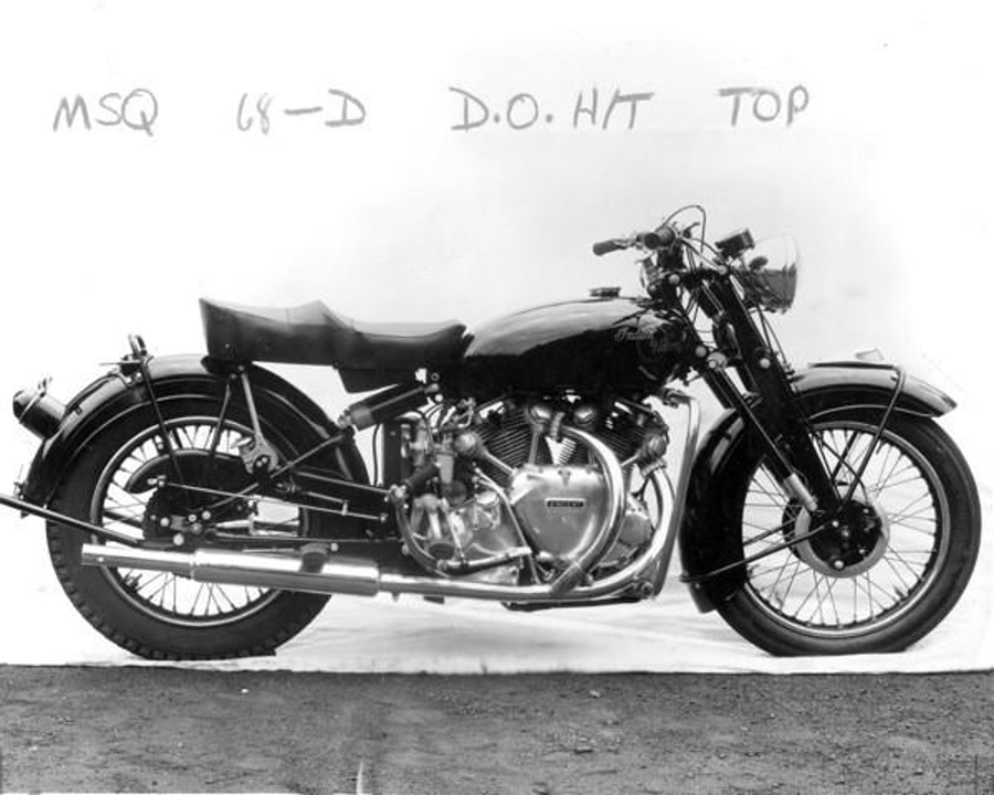 Two Indian/Vincent prototypes were constructed; each with a Vincent engine in a modified Indian frame.