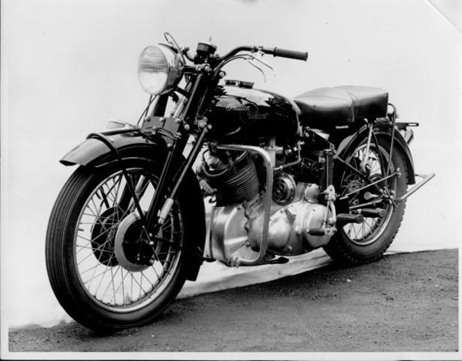 The second prototype also built using an Indian frame with a Vincent Rapide engine was built in a stripped down Americanized British style.