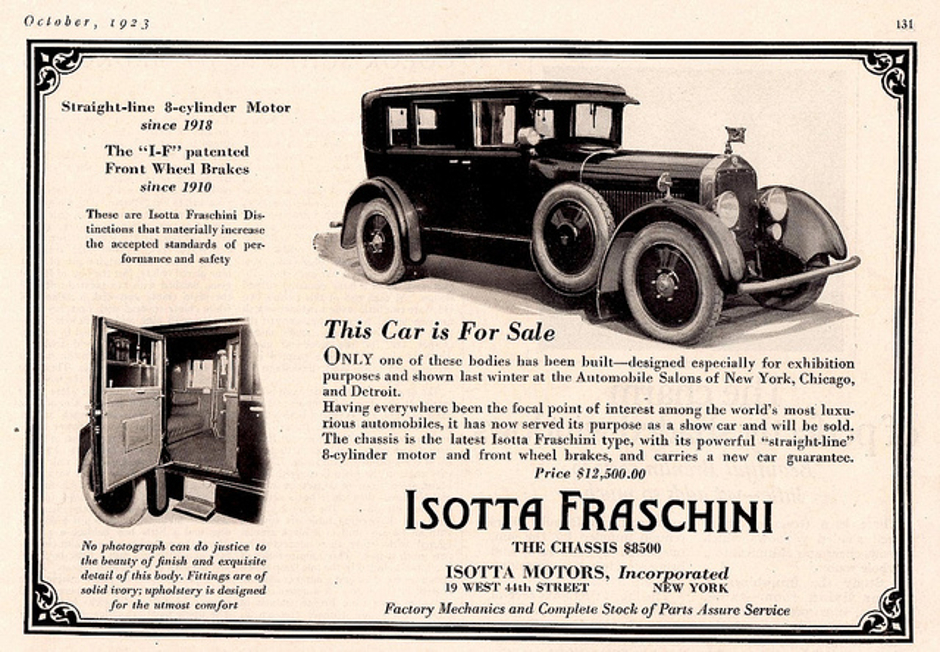 1923 advertisement for the Isotta Fraschini Tipo 8. (Picture courtesy Wikipedia).