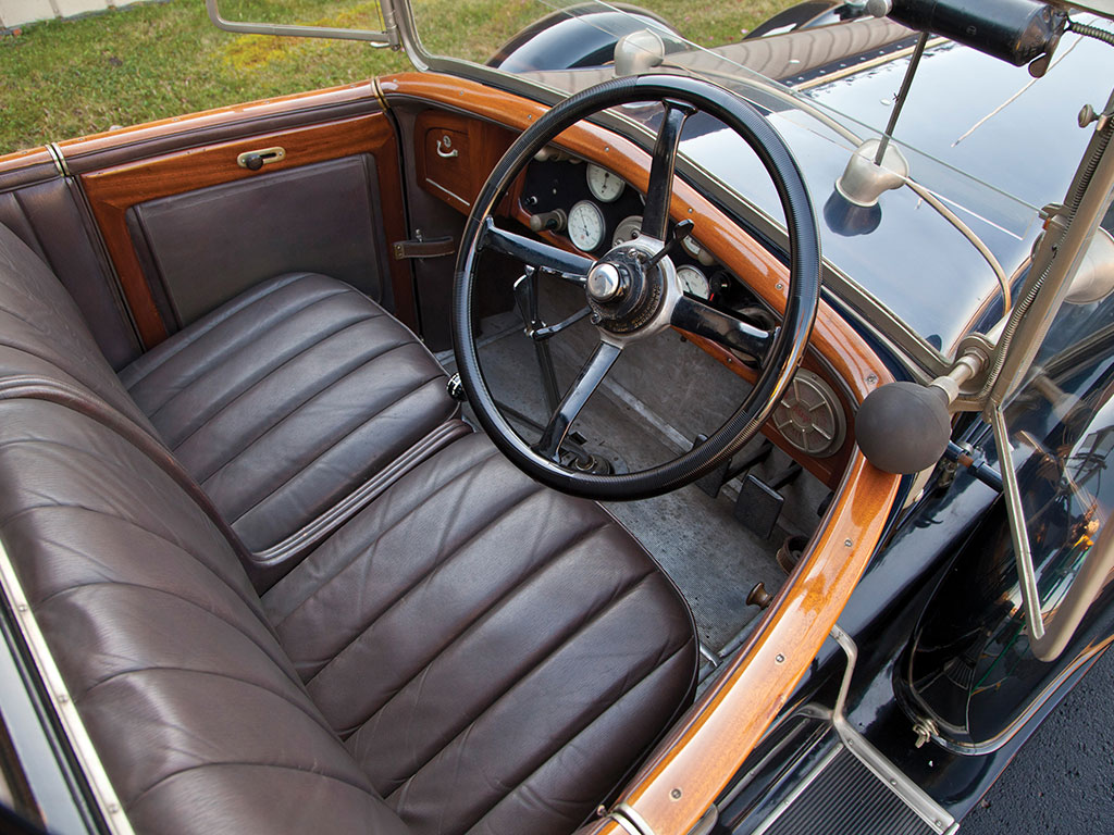 The chauffeur's compartment of this 1924 Isotta Fraschini Tipo 8A. This is a fully original car and has not been restored.