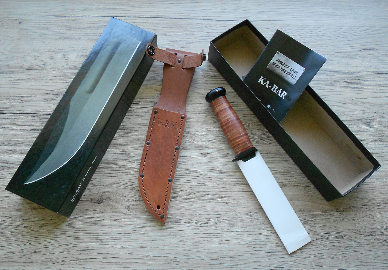 "The genuine Ka-Bar US Navy Mark 1 knives do not have a hologram sticker on the box like the USMC knives do. The label on the end of the box says ""Knife Made in USA, Leather Sheath Made in Mexico""."