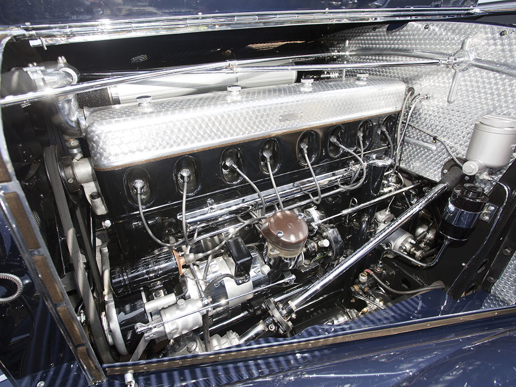 Left side view of the 540 K straight eight engine.