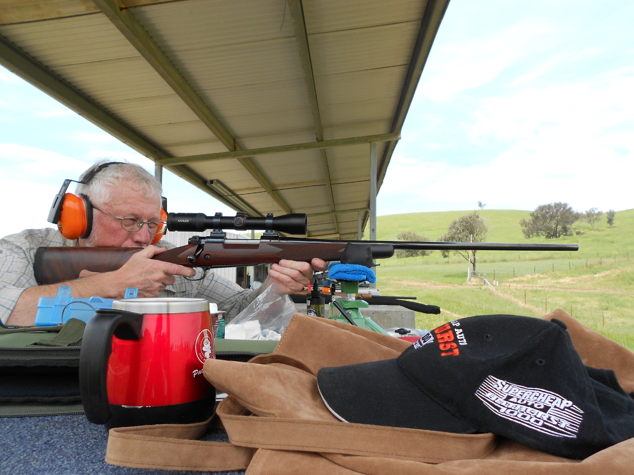 A rifle with the recoil of something in the .300 magnum class on up may need a steadying hand under the fore-end in case it jumps off the rest. The barrel break-in process is quite fun to do but takes time so a nice cup of coffee or tea at regular intervals is good to have.