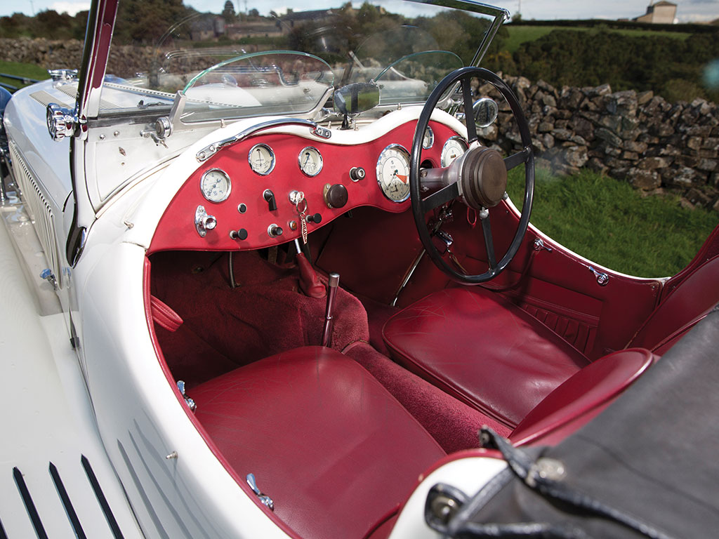 The interior of the car is classic Jaguar, classic thirties and looks to be a very exciting place to be.