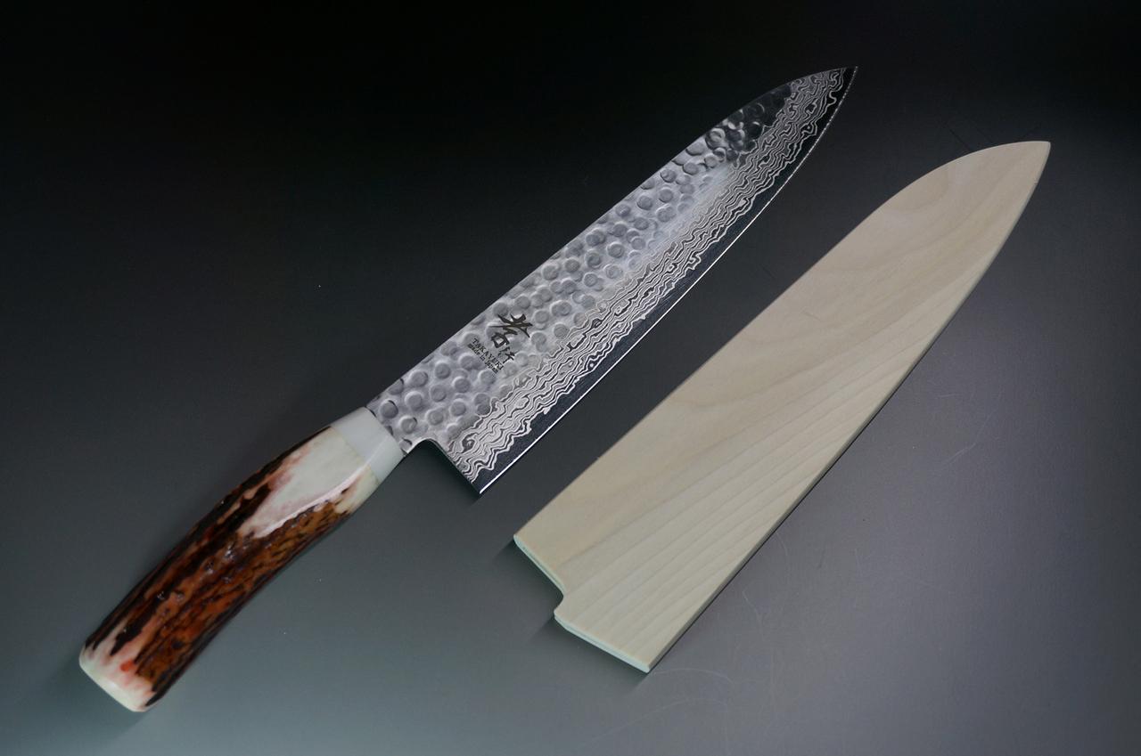 Sakai Takayuki 45-Layer Damascus (Antler Handle) Chef Knife (Gyuto) 210mm.