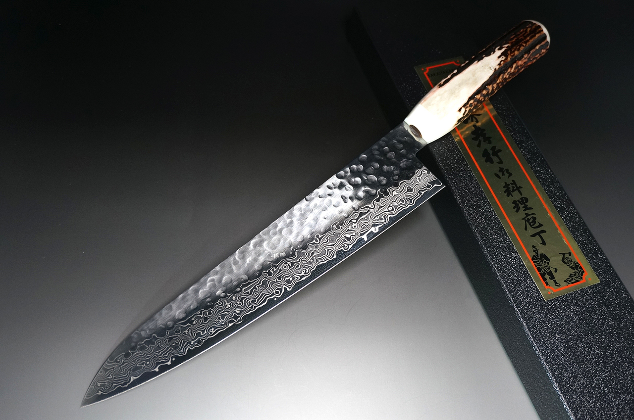 Sakai Takayuki 45-Layer Damascus (Antler Handle) Chef Knife(Gyuto) 240mm.