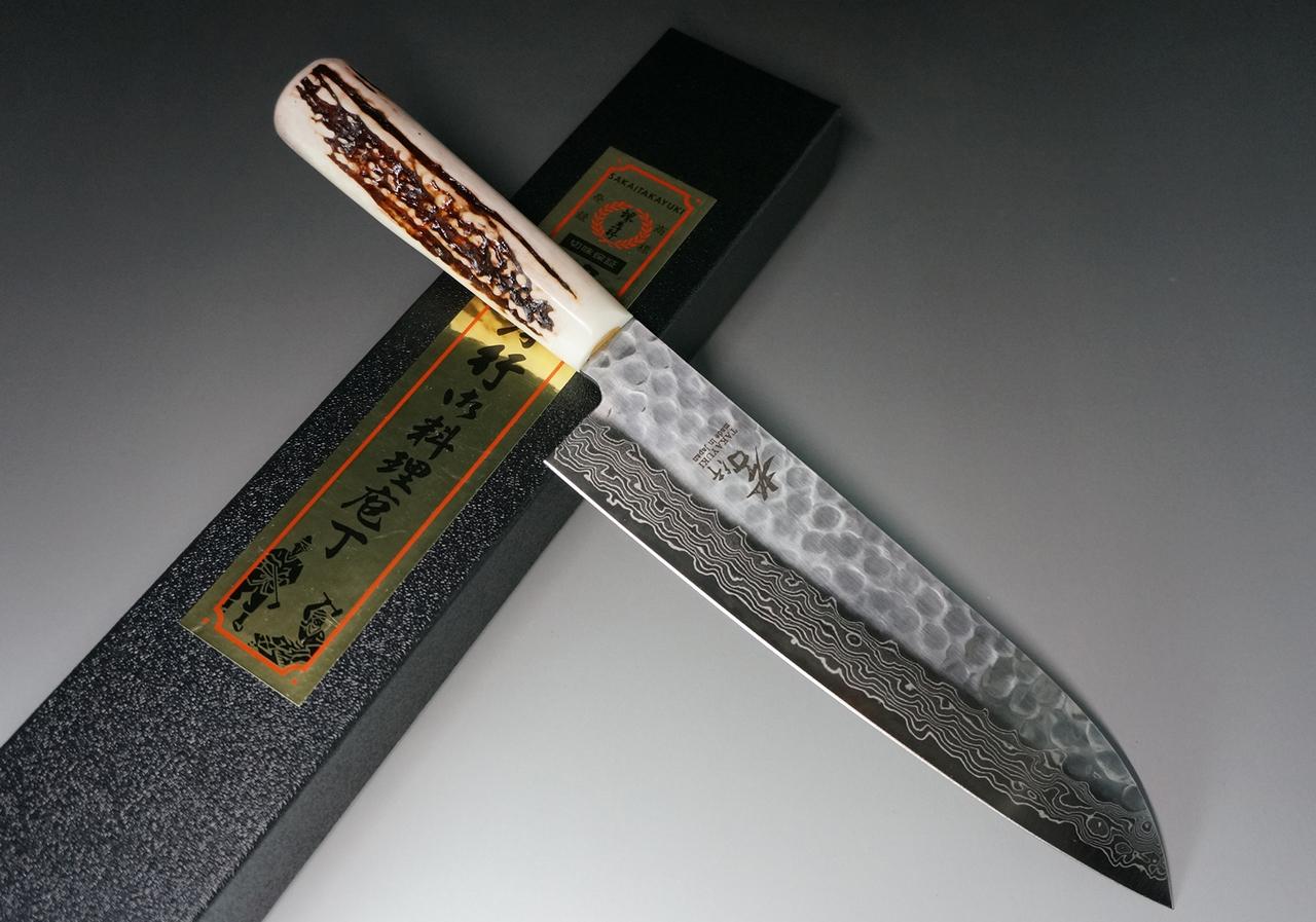 Sakai Takayuki 45-Layer Damascus (Antler Handle) Santoku Knife 180mm.
