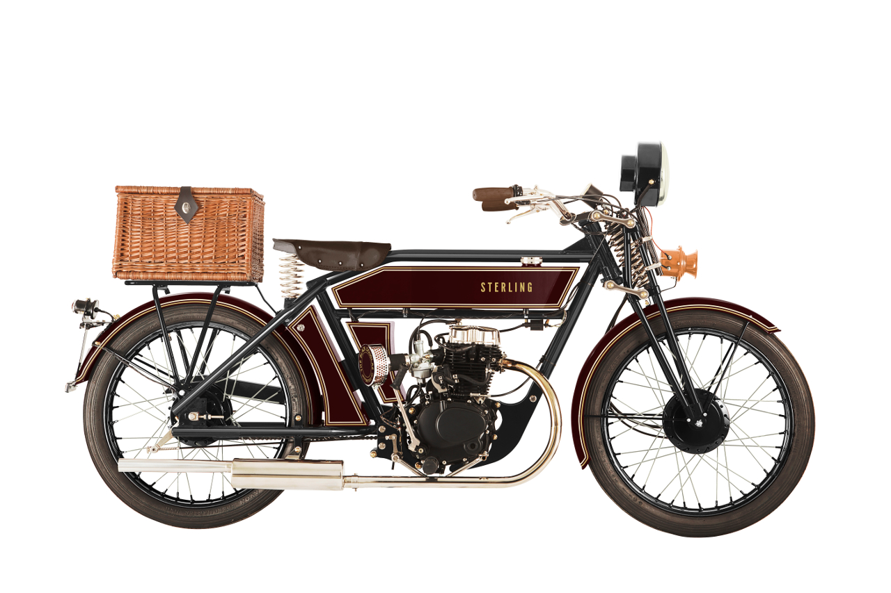 "The Black Douglas Sterling ""Claret Classic"" complete with wickerwork picnic basket for your classic luncheon and perhaps a nice Shiraz? (Picture courtesy The Black Douglas Motorcycle Company)."