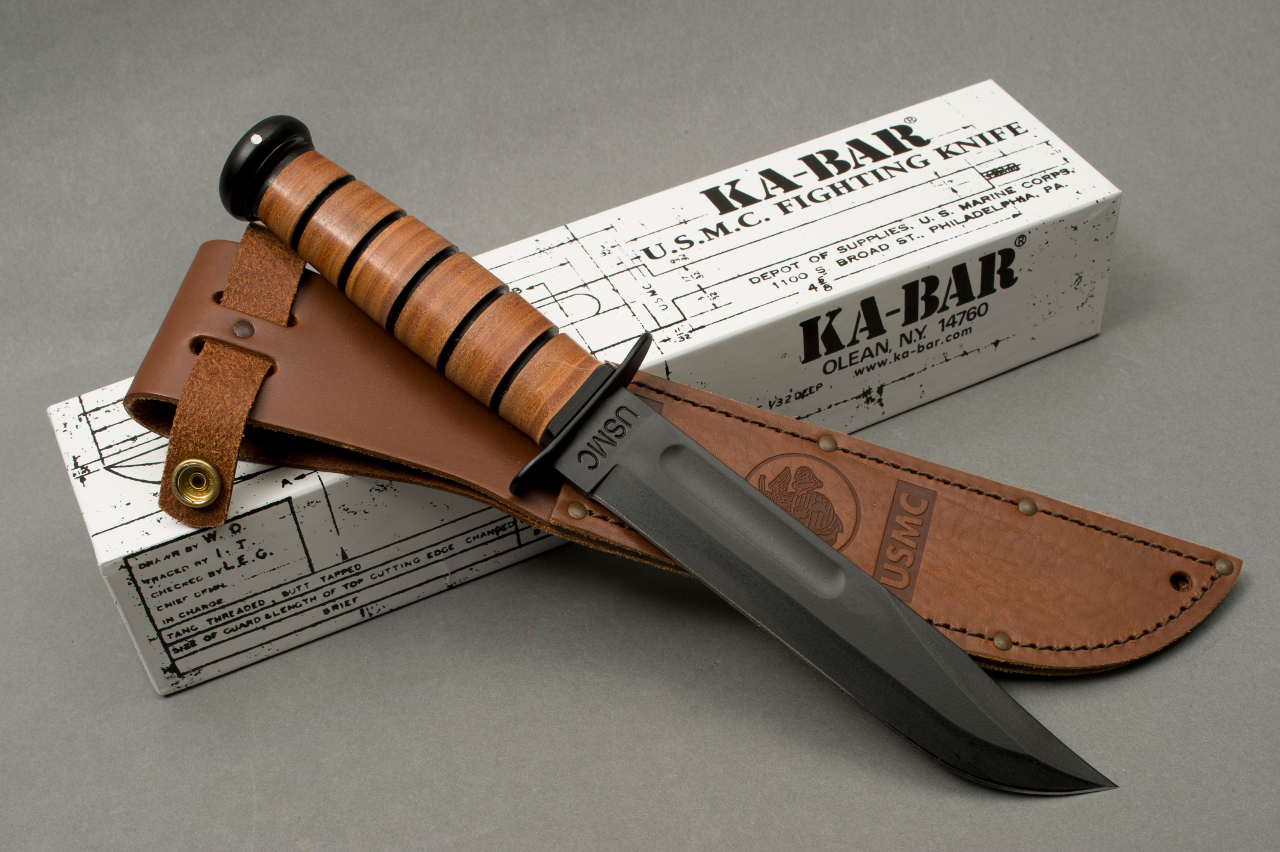 The original Ka-Bar USMC knife is plain edged and came in a leather sheath. This knife is shown with the original old style box. (Picture courtesy marinecorpstimes.com).