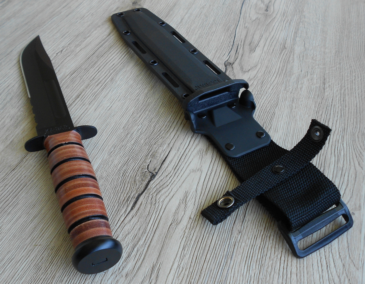 The plastic sheath for the USMC Ka-Bar allows more wearing options for the knife including the ability to wear it for either left or right hand use. The hand-guard clips into the retainers at the sheath mouth holding the knife positively in place.