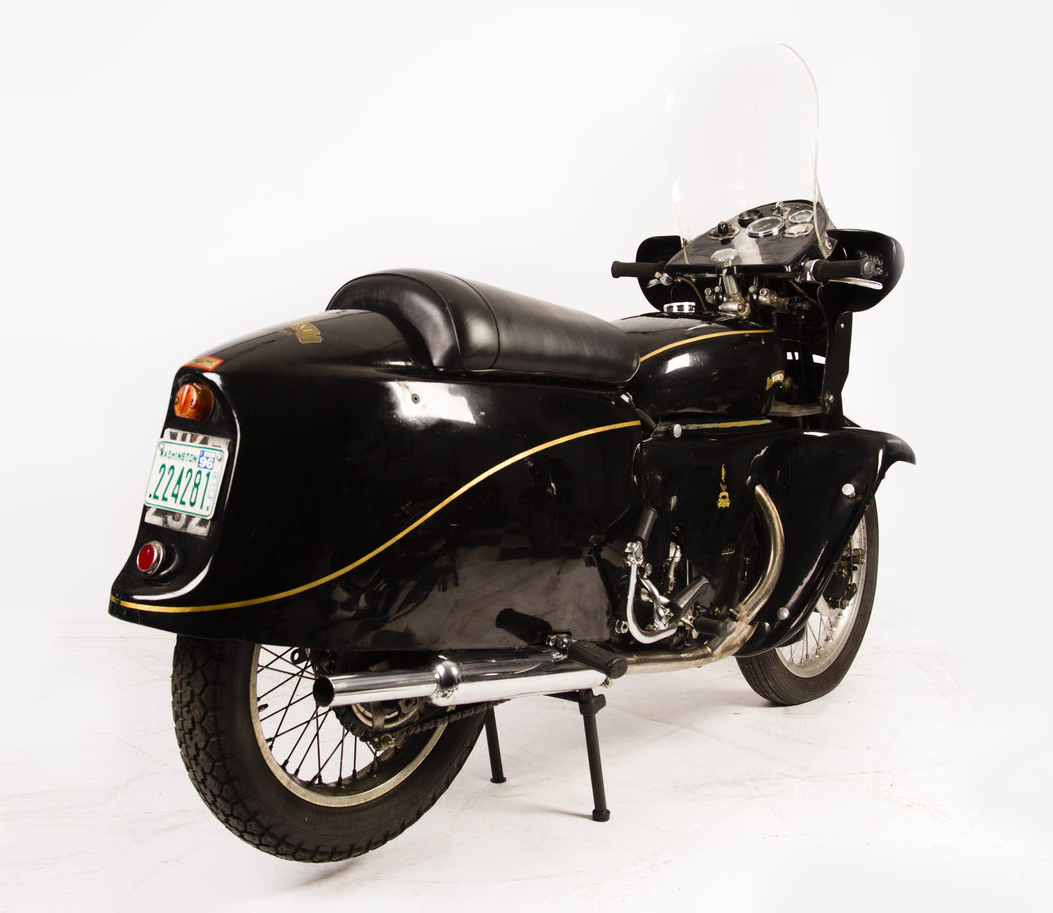 With its streamlined fairing, windshield, and leg guards the Vincent Black Prince is a motorcycle that you could ride all day comfortably.