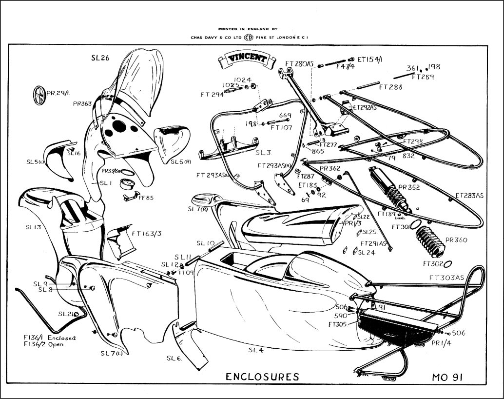 Factory drawing of the body panels of the Black Prince and Black Knight. (Picture courtesy thevincent.com).