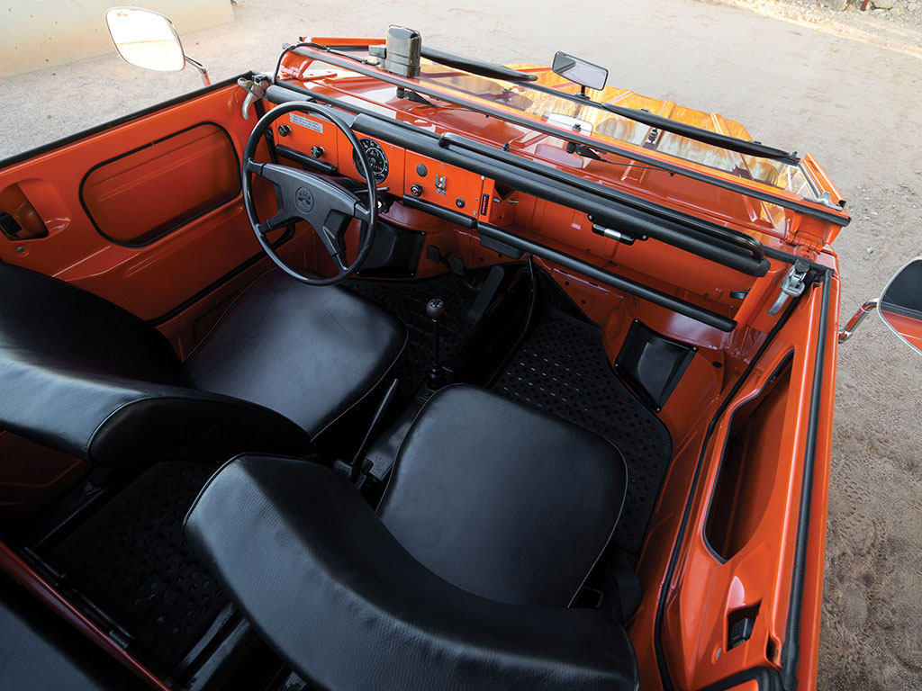"The interior of the Volkswagen Kübelwagen based ""Thing"" is minimalist and uncluttered but excellent."