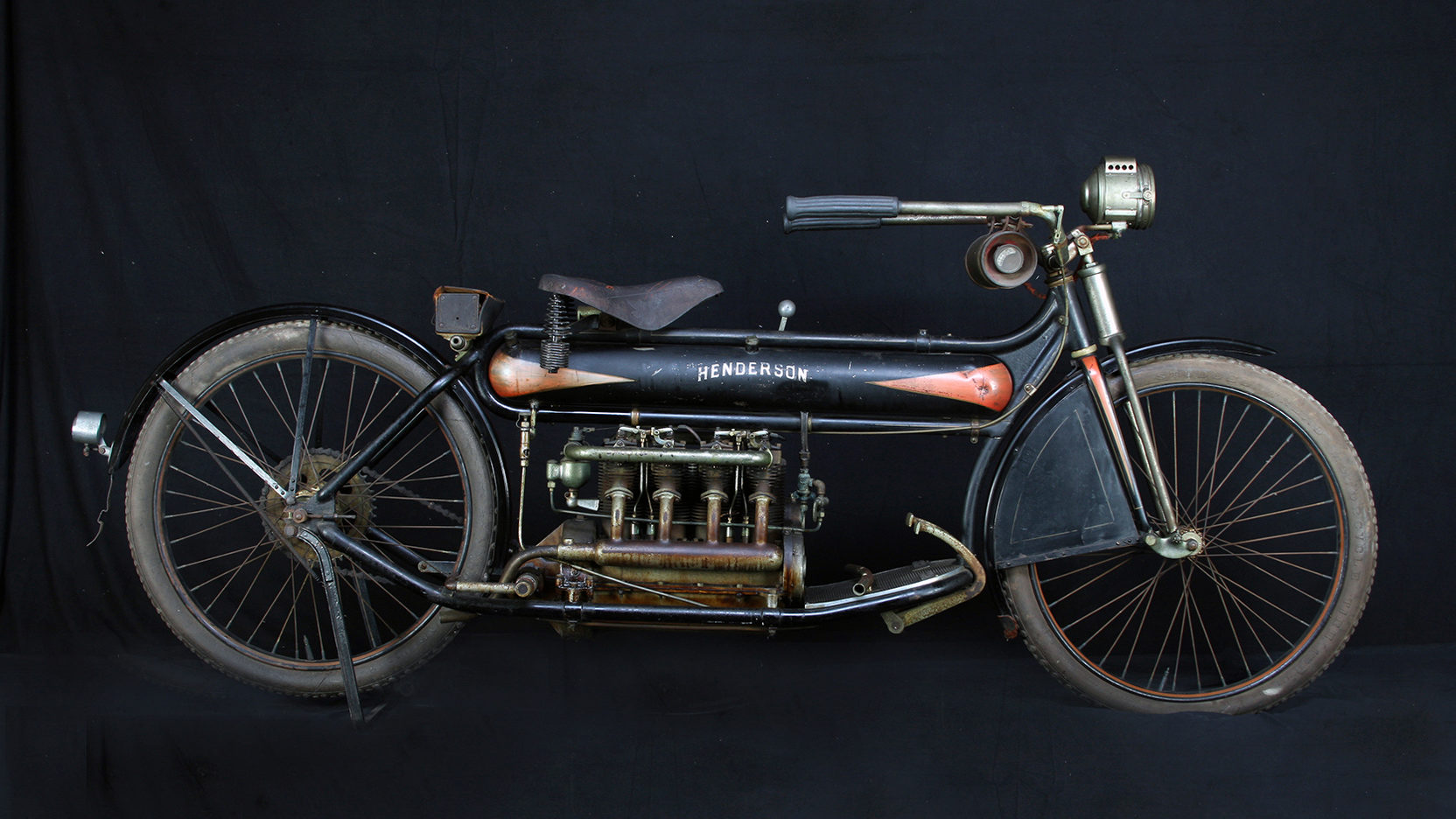 This completely original 1912 Henderson Four has not been restored so it has its original paint job. (Picture courtesy Mecum Auctions).