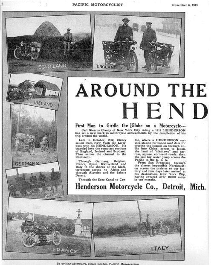 "One of the regular articles published on Clancy's journey around the world. This one is from the ""Pacific Motorcyclist"" in 1913. (Picture courtesy drivemag.com)."