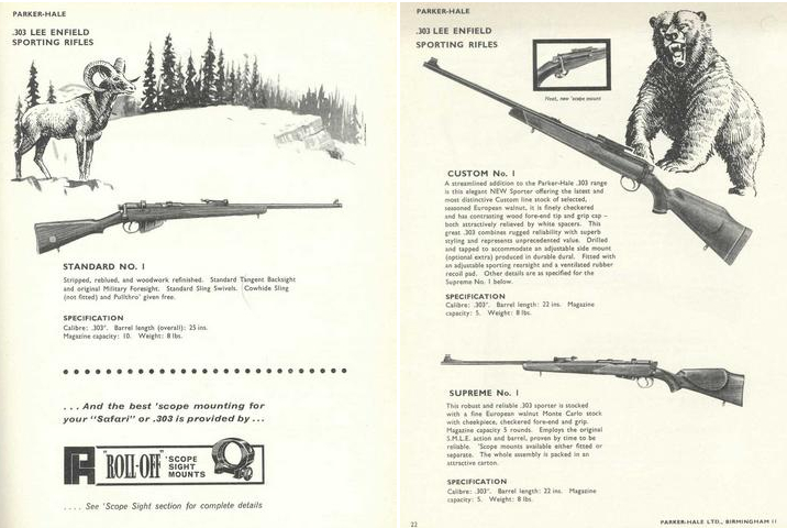 Catalog pages for the Parker-Hale sporting rifles based on the No. 1 action.