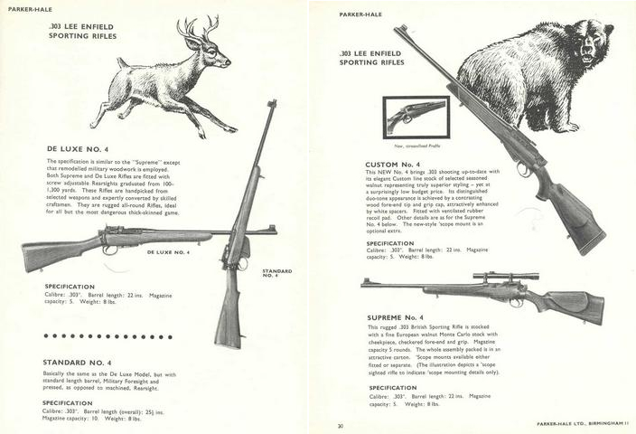 Catalog pages for the Parker-Hale sporting rifles based on the No. 4 action.