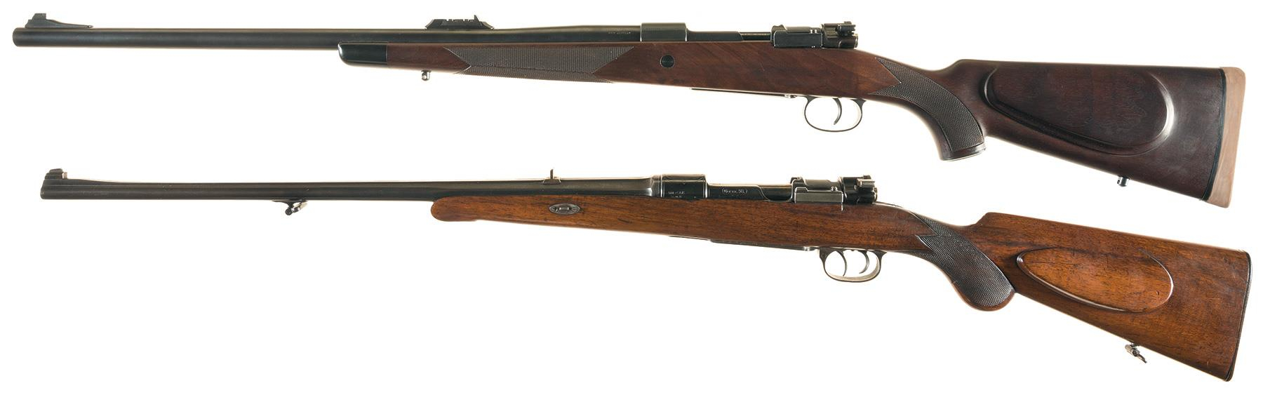 Left side view of the two rifles in the RIA lot 2769. Top is the Westley Richards .500 Jeffrey and below is the H. Burgsmuller & Sohne 8mm Mauser.