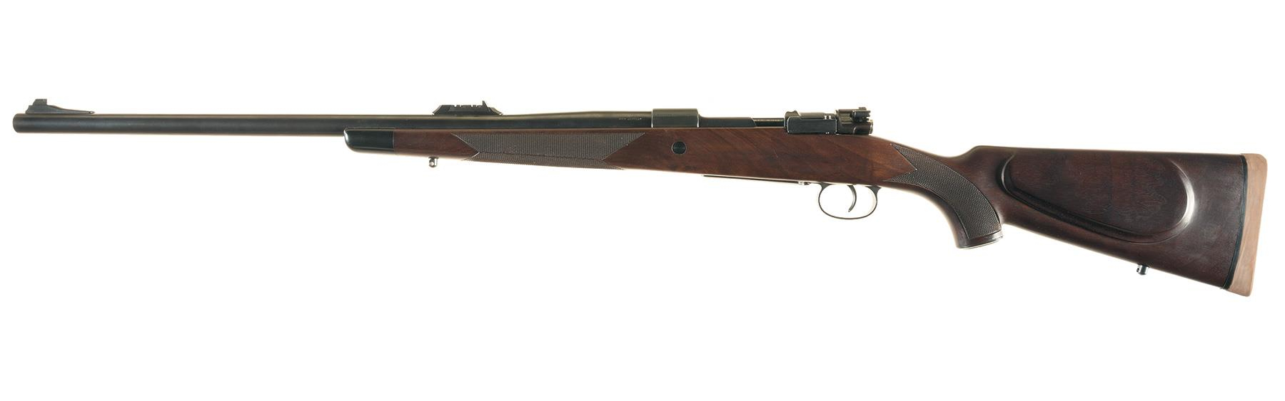 Left side view of the Westley Richards .500 Jeffrey. These magazine rifles typically hold 3 cartridges in the magazine plus one in the chamber giving a total capacity of four.
