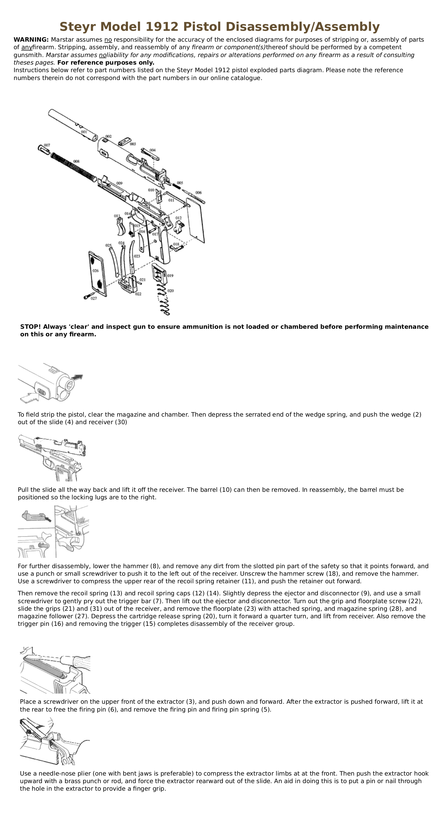 Steyr Model 1912 stripping instructions
