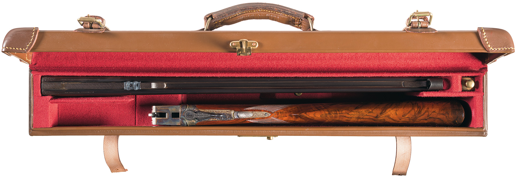 Churchill 22 Hornet double rifle fitted case