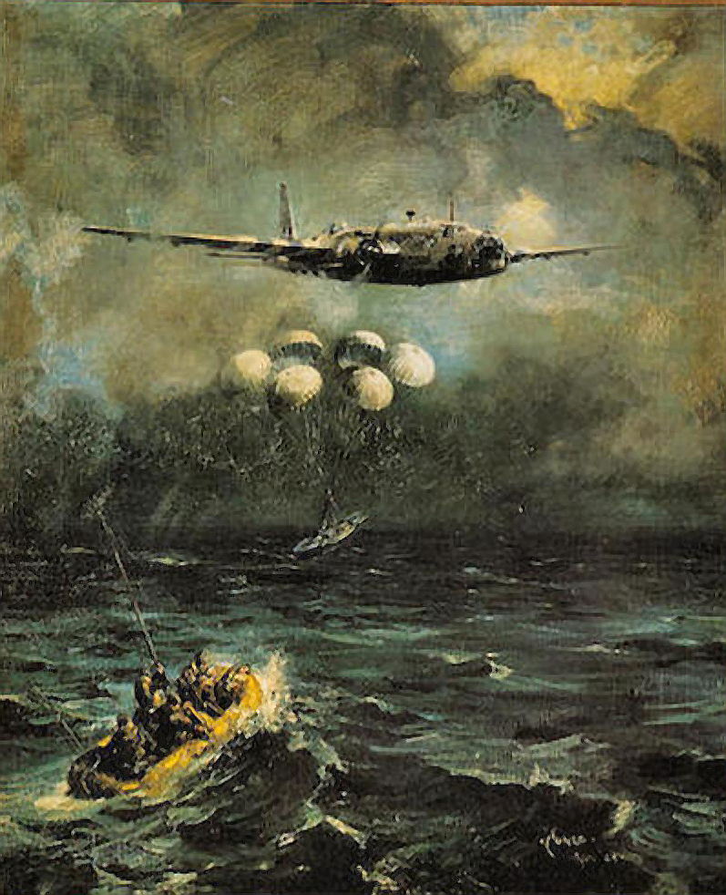 dropping a lifeboat from a bomber