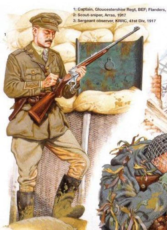 British First World War officer with 600 Nitro Express counter sniper rifle