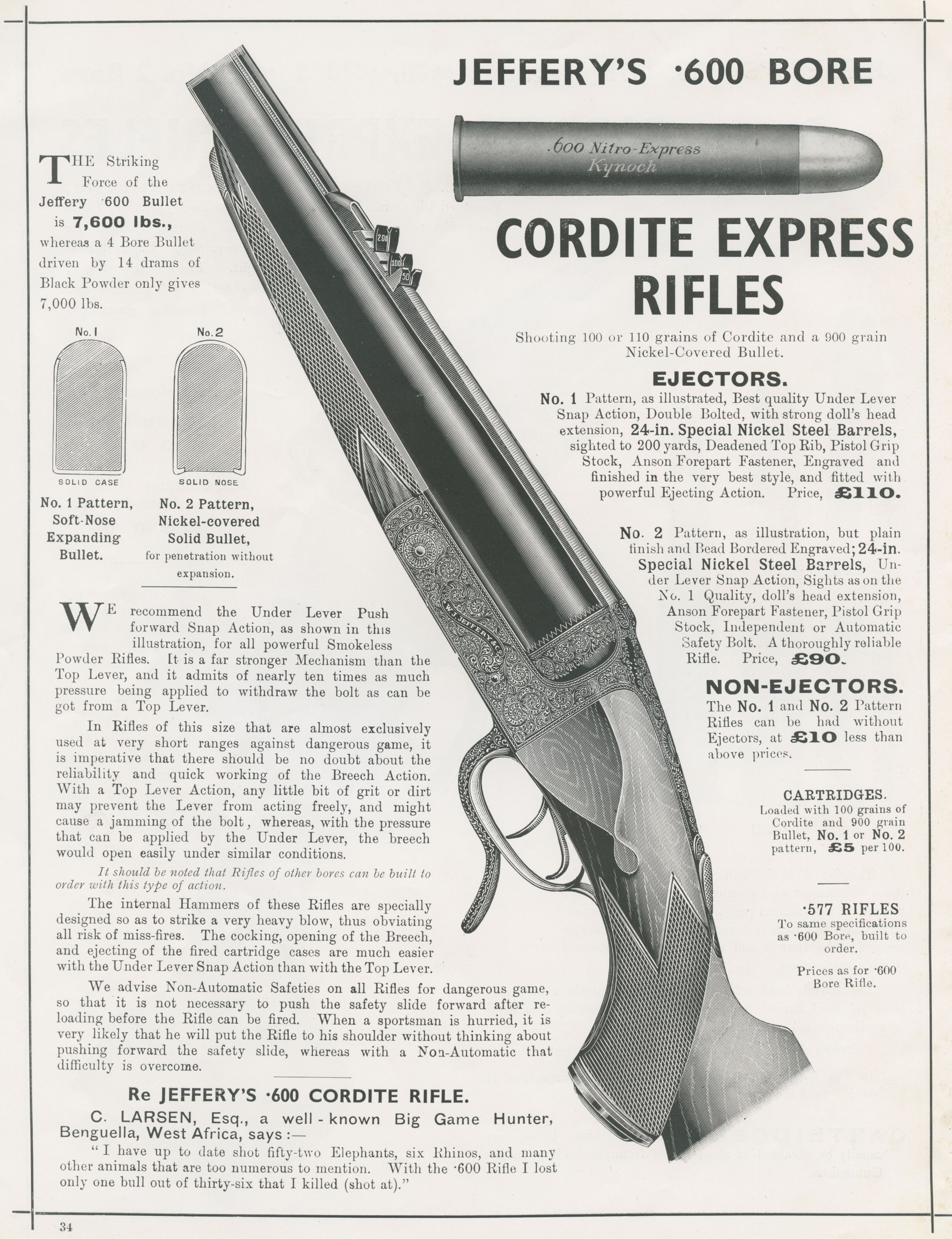 Jeffery advertisement 600 Nitro Express rifles