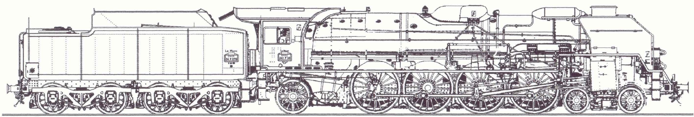 SNCF 241P steam locomotive diagram