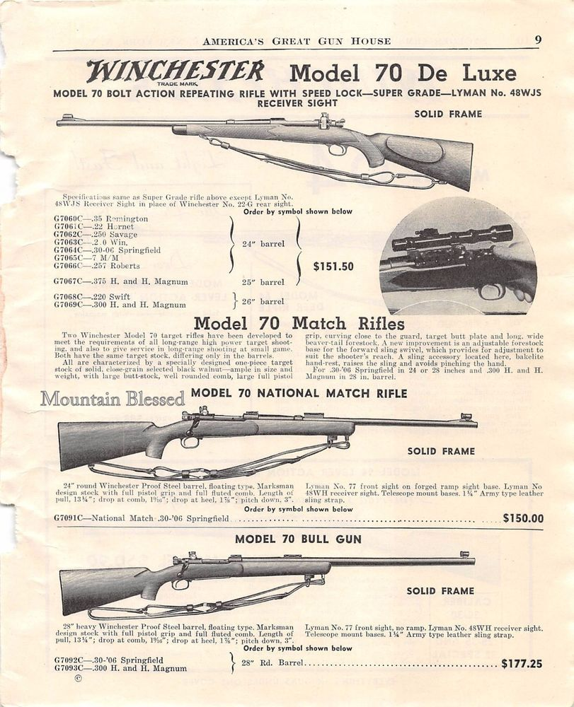 Winchester Model 70 rifle advertisement