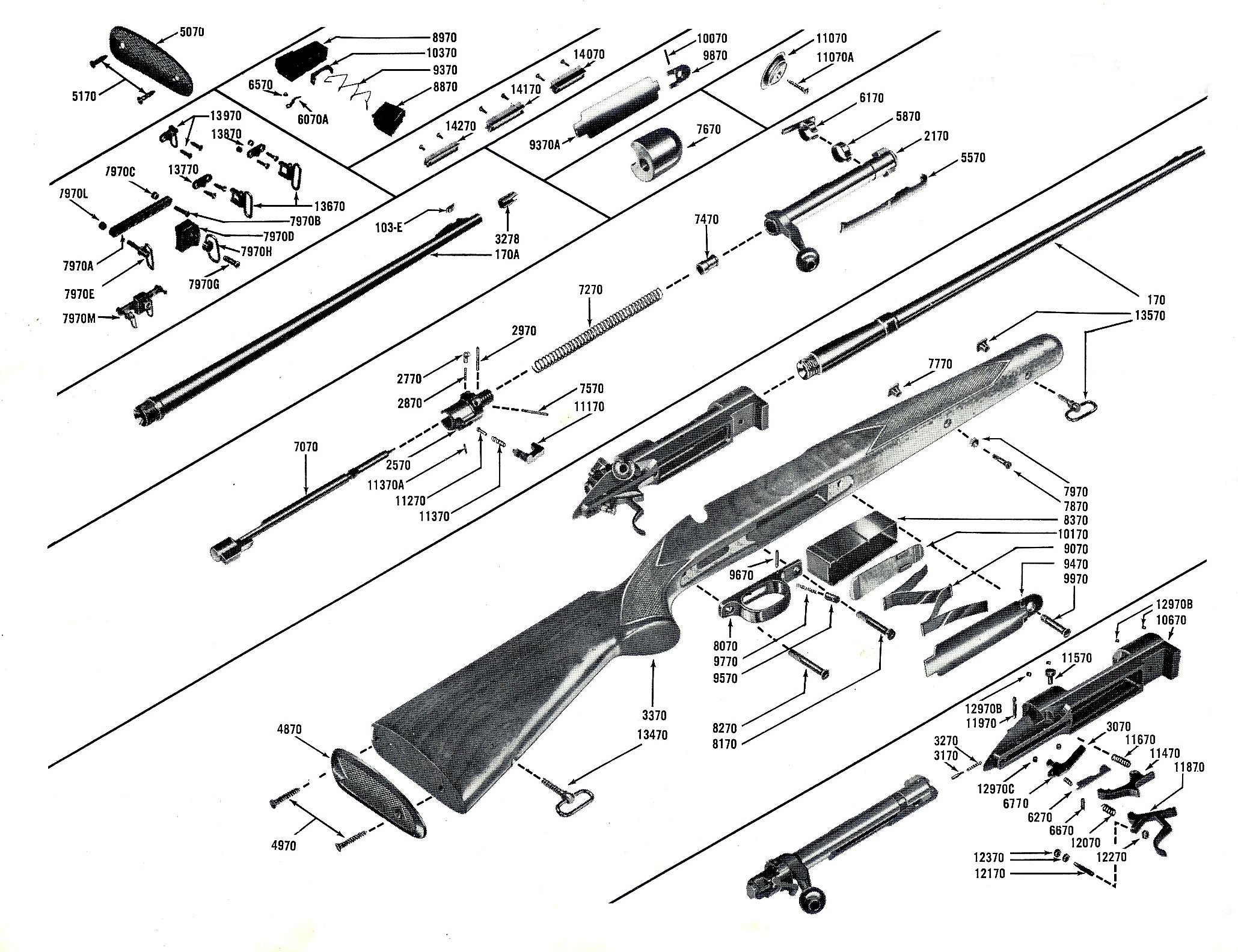 Post-war production Model 70 Pre-64 rifle exploded diagram