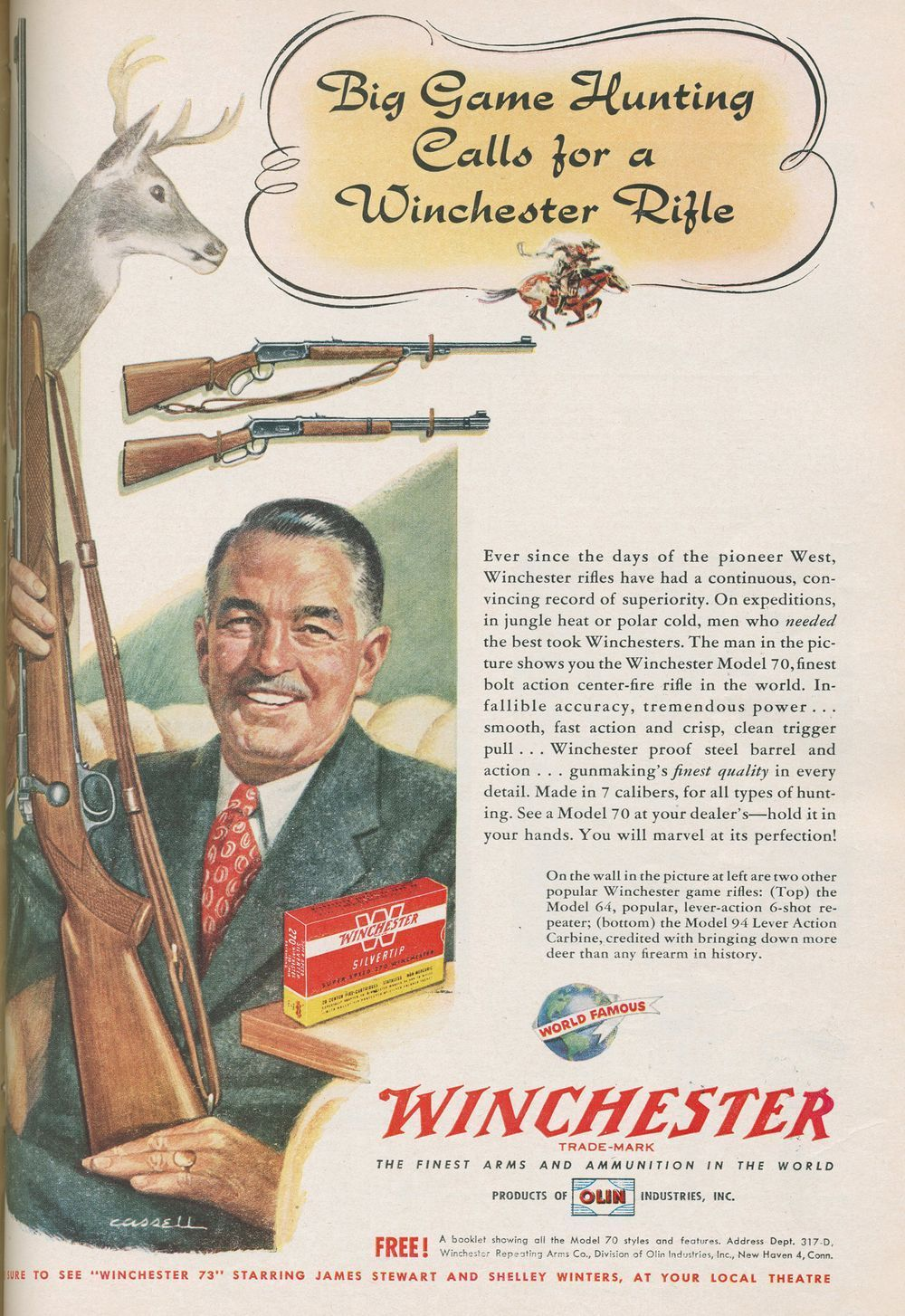 Winchester Model 70 rifle advertisement September 1950