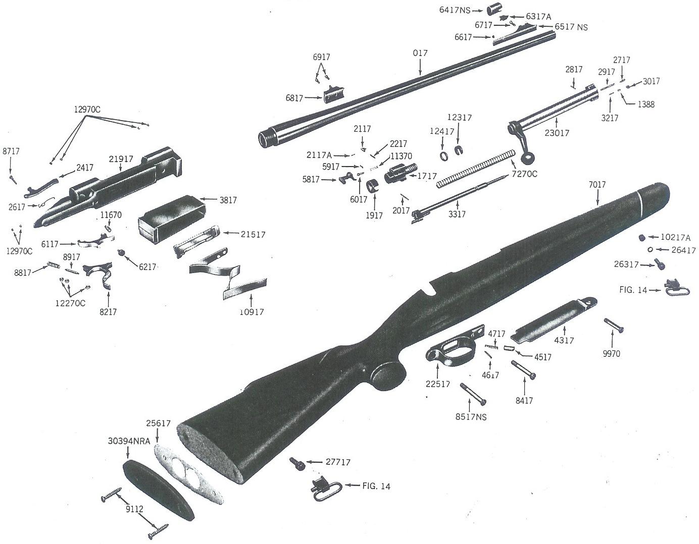 Winchester Model 70 post-64 rifle diagram