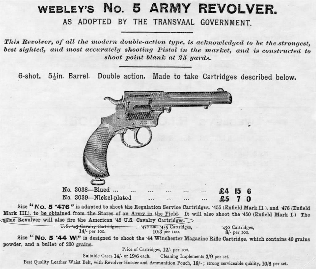 Webley New Model Army Express No. 5 revolver advertisement