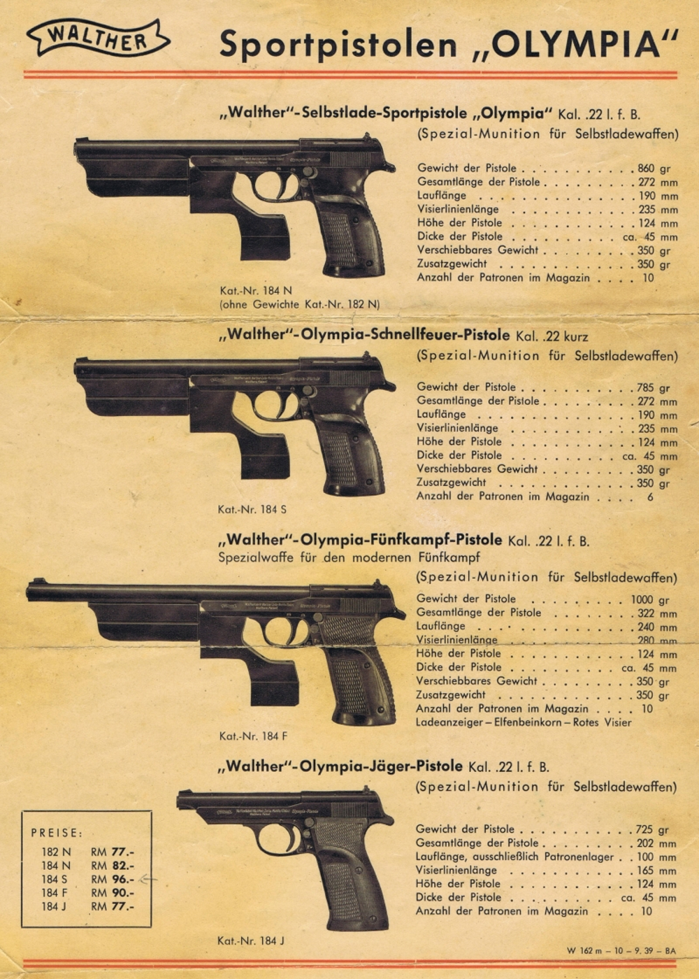 Walther 1936 Olympia Pistol advertisement
