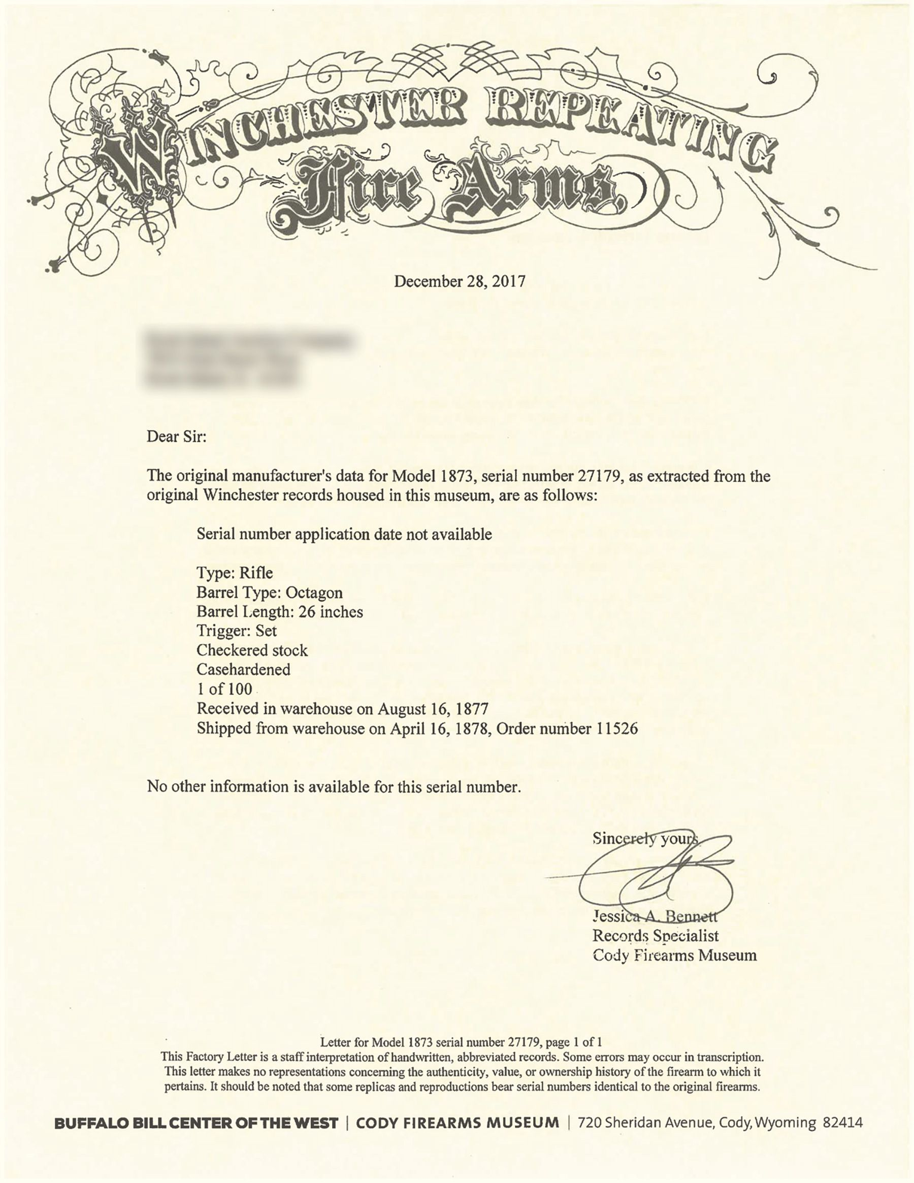 Cody Firearms Museum letter