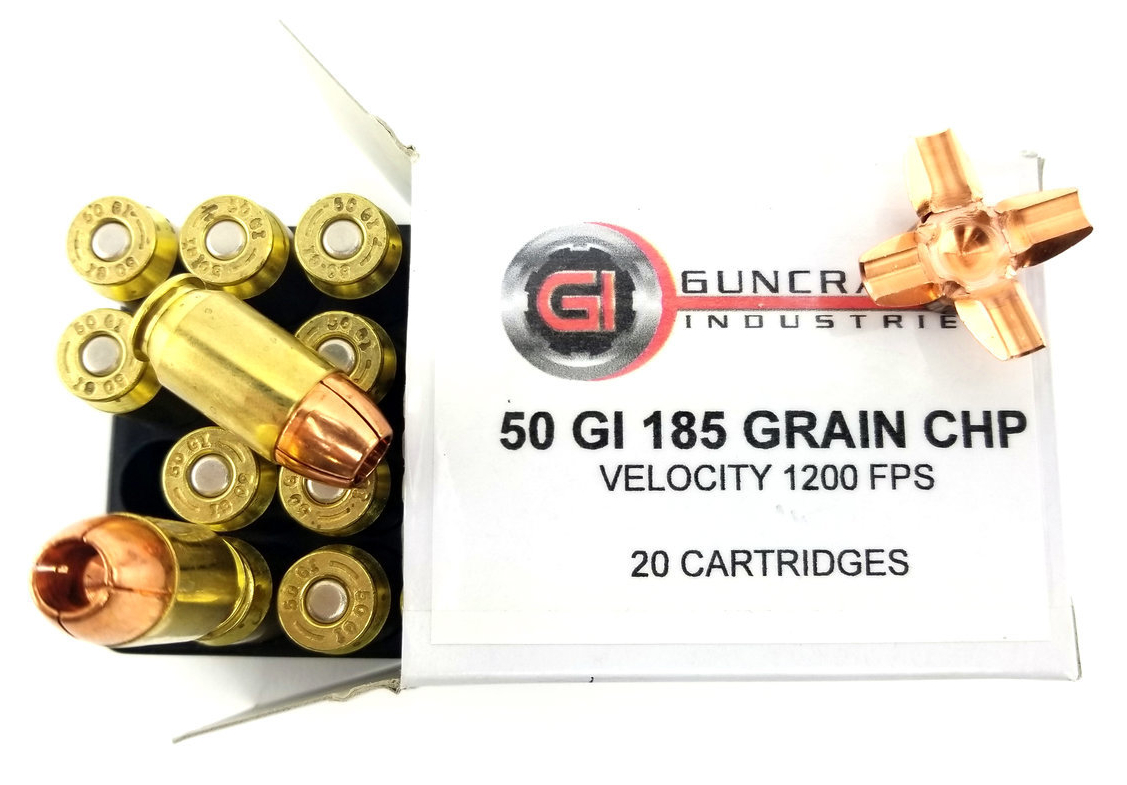 Guncrafter Industries .50GI 185gn Copper Hollow Point pistol ammunition.