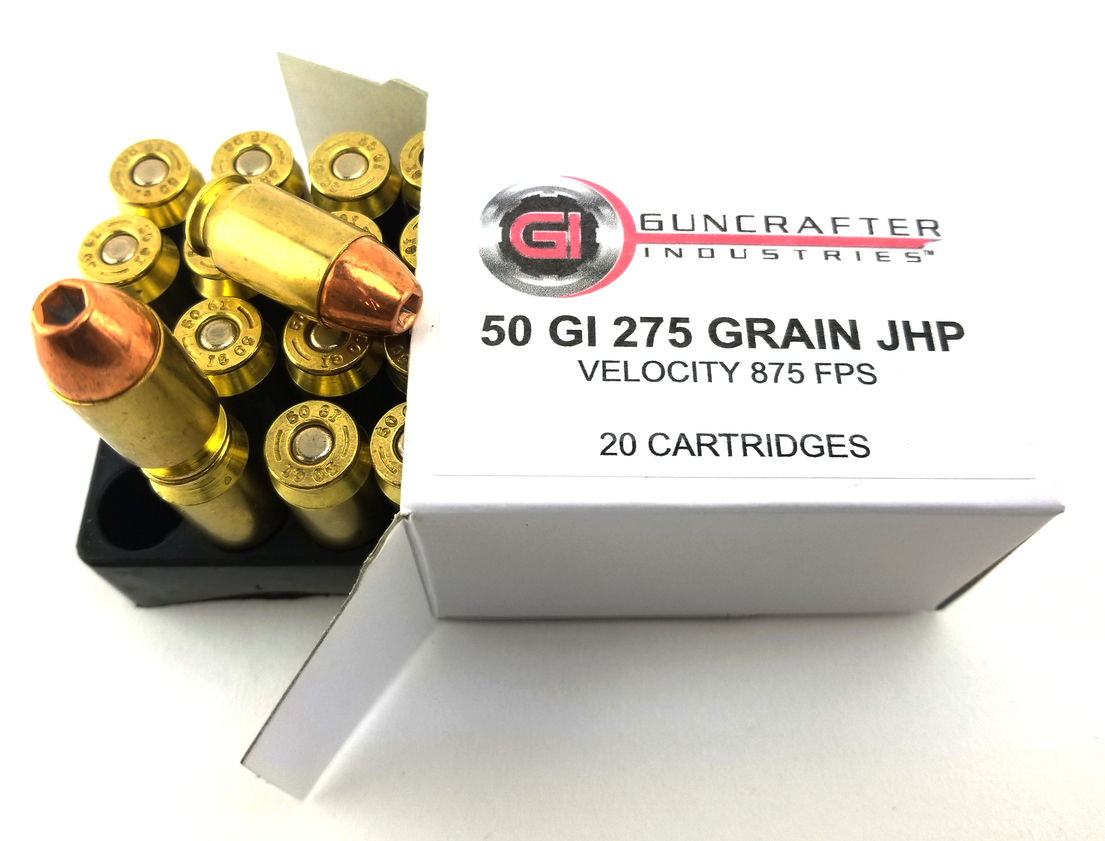 Guncrafter Industries 275gn Jacketed Hollow Point pistol ammunition.