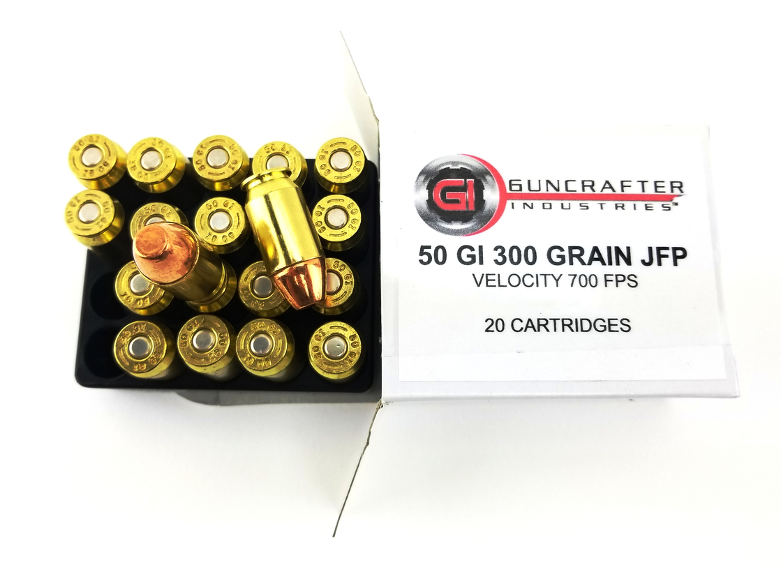 .50GI 300gn Jacketed Flat Point ammunition.