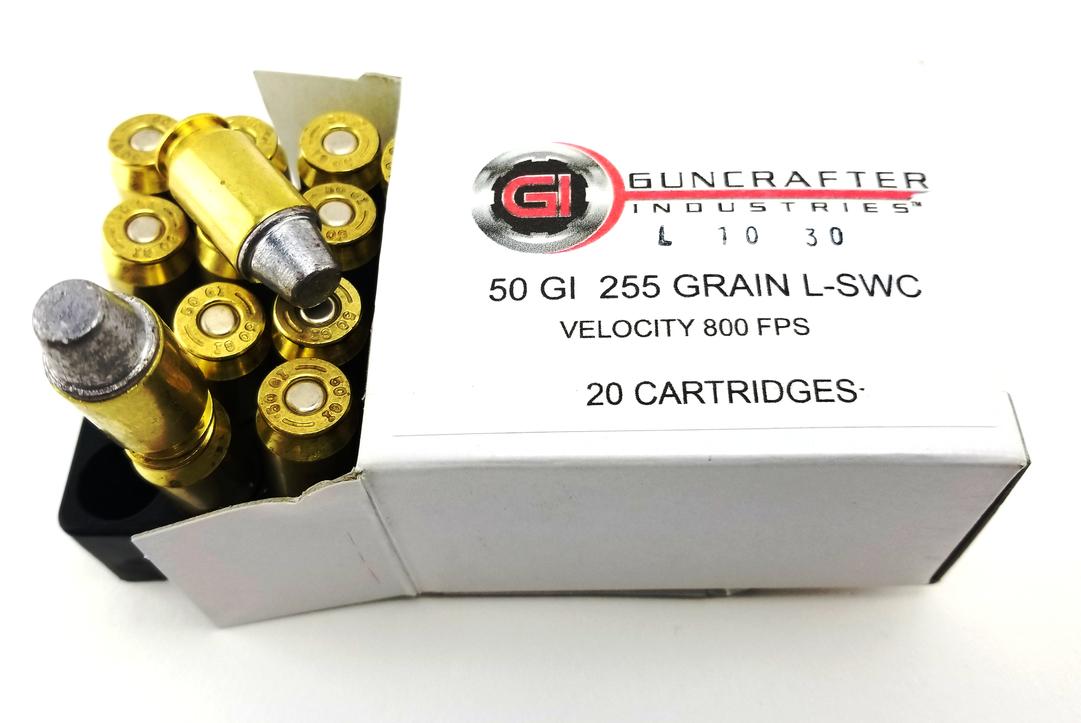 Guncrafter INdustries 255gn Lead Semi-Wadcutter pistol ammunition.
