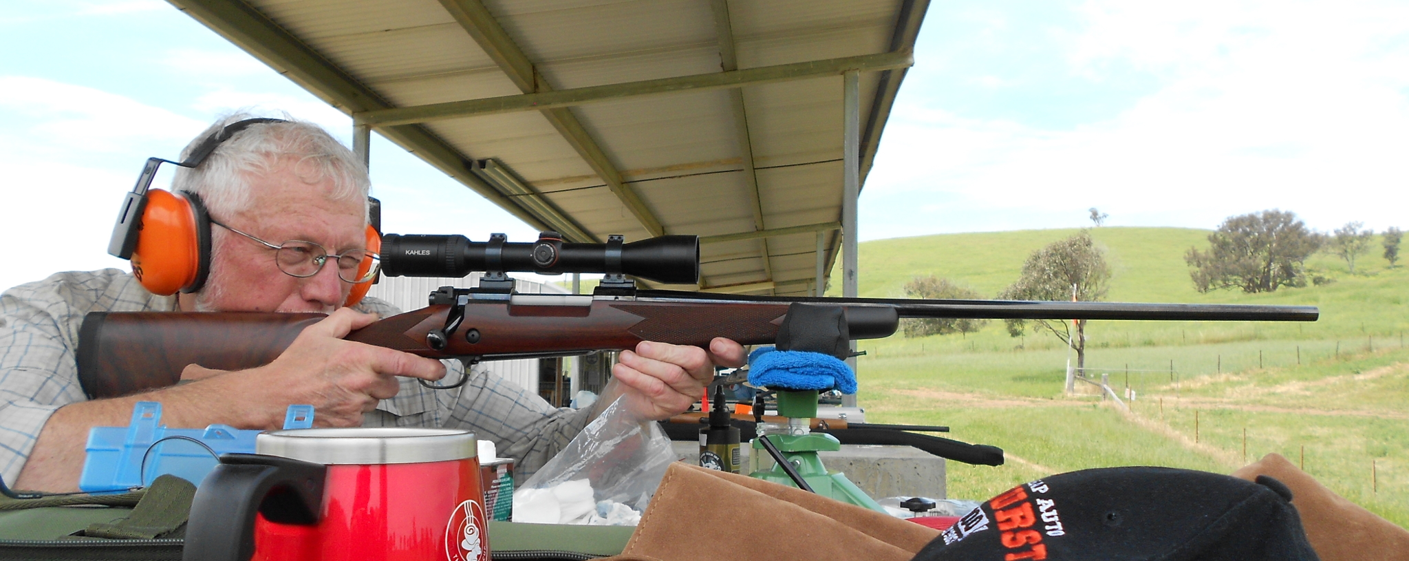 Winchester M70 rifle benchrest sighting in