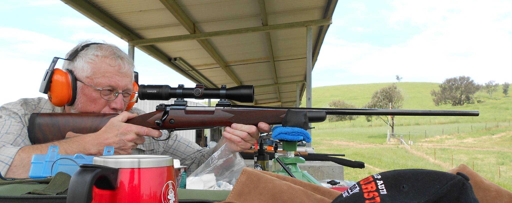 Winchester M70 rifle benchrest sighting in