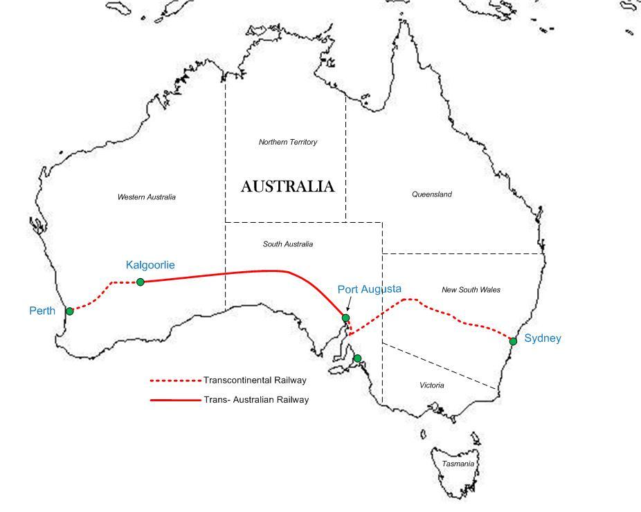 Trans-Australian rail line map