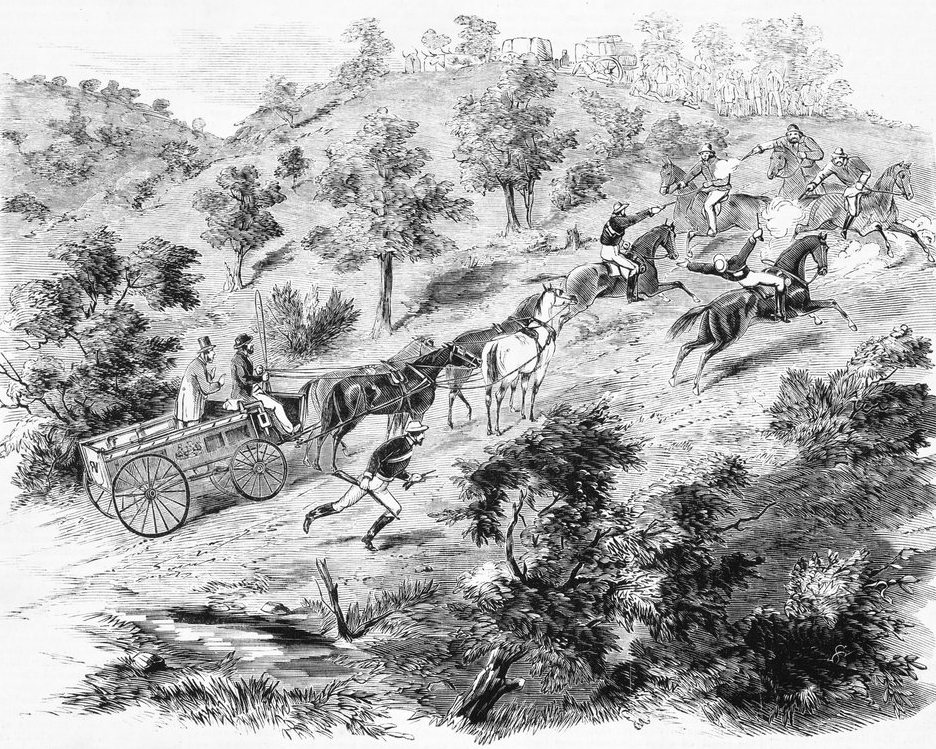 Bushrangers Ben Hall John Gilbert and John Dunn attack the Gundagai Mail.