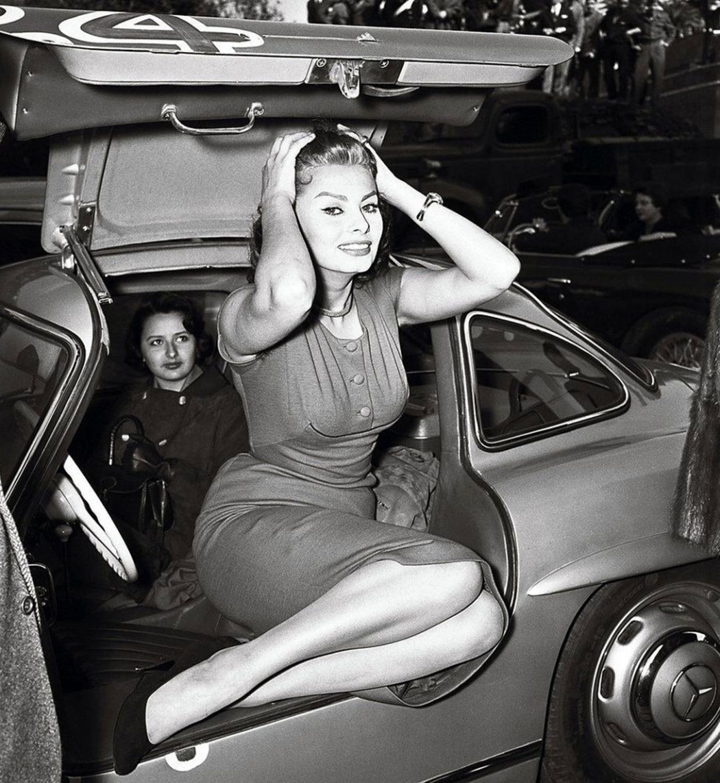 Sophia Loren Mercedes-Benz 300SL gullwing sports car