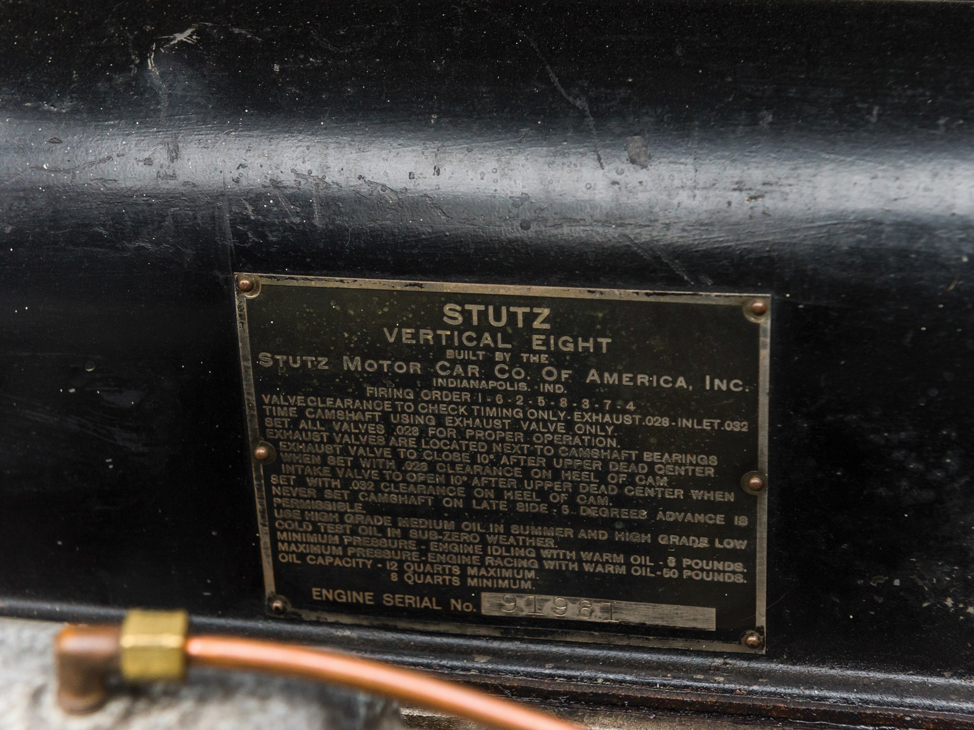 Stutz Vertical Eight manufacturer's plate
