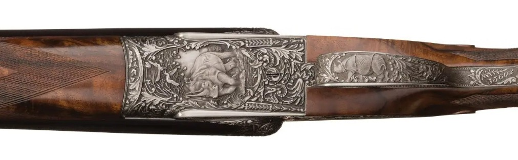 Holland and Holland Phillippe Grifnee engraved double rifle white rhinoceros Indian rhinoceros